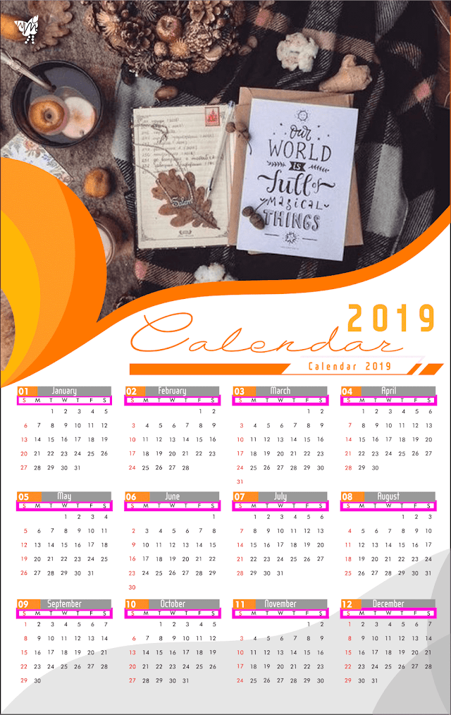 006 Calendar 2019 Printable Template Design AI Vector cdr | Holiday