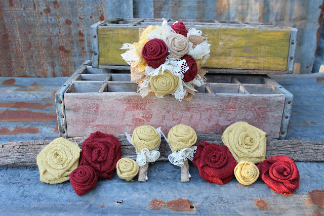 maroon and gold burlap flowers