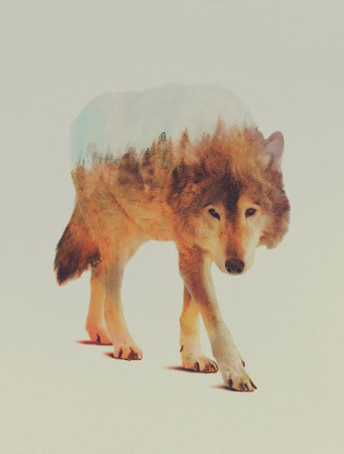 Ilustración animal fusionado con paisaje