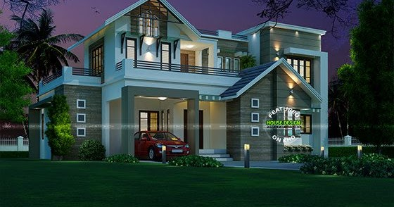 sq ft sloping roof mix home kerala home design  floor plans