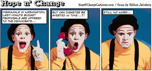obama, obama jokes, cartoon, hope n' change, hope and change, stilton jarslberg, conservative, mime, shutdown, debt ceiling, budget