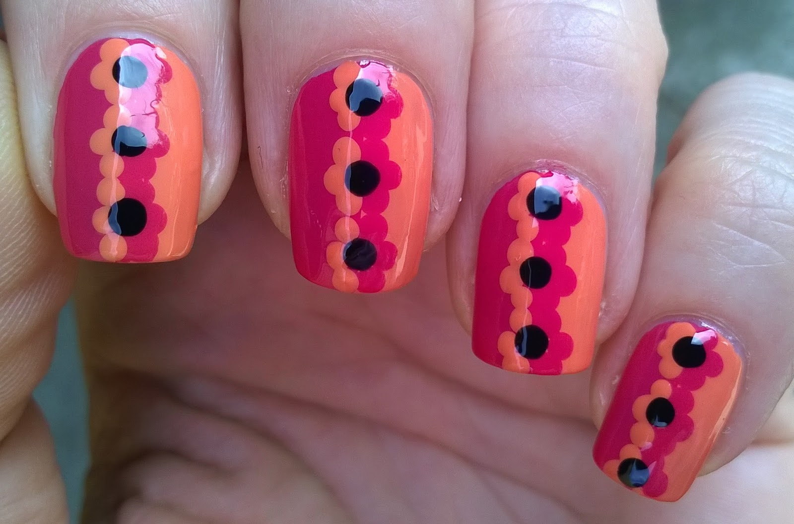 Life World Women Orange Pink Flower Nail Art Design