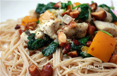 Quick easy healthy and frugal Chicken with Spinach and Garlic Almond Recipe