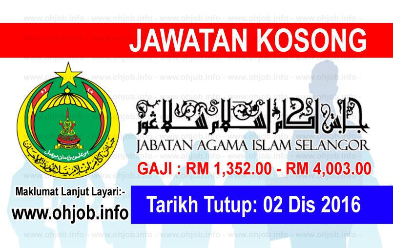 Jawatan Kerja Kosong Jabatan Agama Islam Selangor (JAIS) logo www.ohjob.info disember 2016