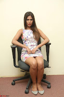 Nishi Ganda stunning cute in Flower Print short dress at Tick Tack Movie Press Meet March 2017 150.JPG