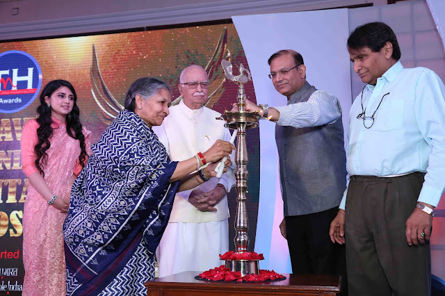 Savitri Devi Jindal,Srishti Rai Jindal,Shri L k Advani,Jayant Sinha, Suresh Prabhi (L to R) lighting the lamp for 3rd Travel and Hospitality award show