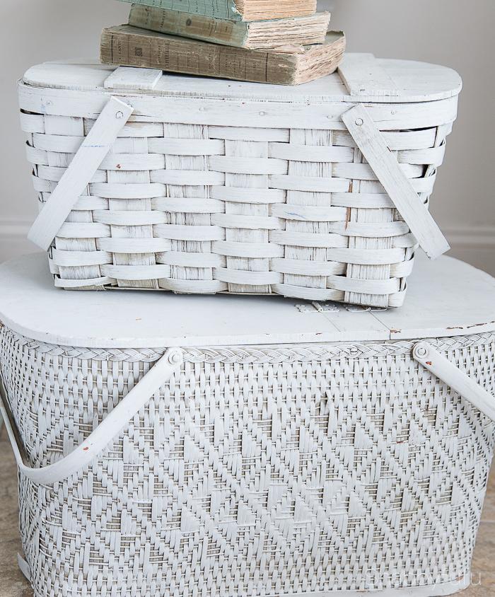 hidden storage vintage picnic baskets