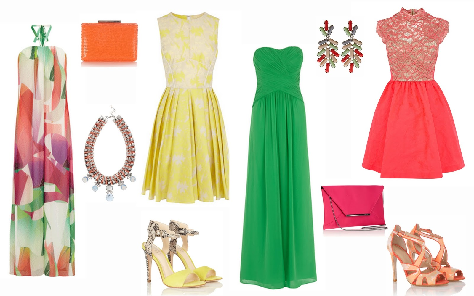 e109c460ed2 From top to bottom  Niah printed maxi £135. Neon orange sequin clutch £22.  Cali cord necklace £45. Amaline yellow jacquard dress £85.