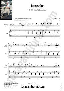 Trombón, Tuba Elicón y Bombardino Partitura de Juancito es asíSheet Music for Trombone, Tube, Euphonium Music Scores (tuba en 8ª baja)