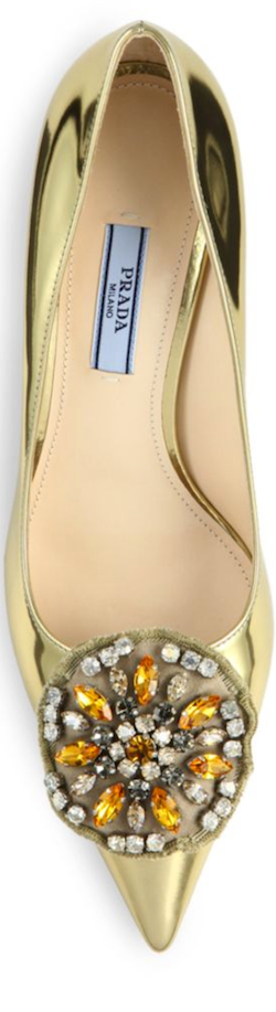 Prada Brooch-Detail Metallic Patent Leather Curved-Heel Pumps