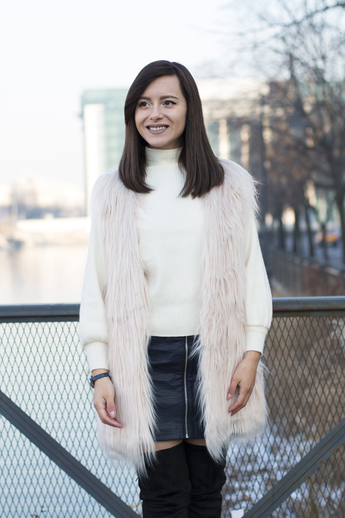 light pink faux fur vest