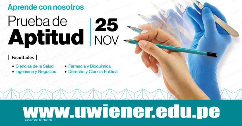 Resultados UWIENER 2018 (25 Noviembre Prueba de Aptitud) Lista Ingresantes Examen de Admisión - Universidad Norbert Wiener - www.uwiener.edu.pe