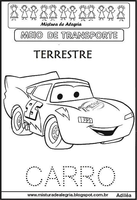 Meios De Transportes E Transito Para Imprimir E Colorir Mistura