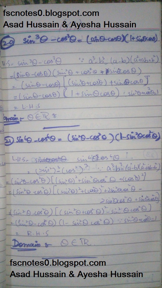 FSc ICS FA Notes Math Part 1 Chapter 9 Fundamentals of Trigonometry Exercise 9.4 Question 16 - 21 by Asad Hussain & Ayesha Hussain 3