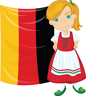Clipart image of a German girl in front of the German flag