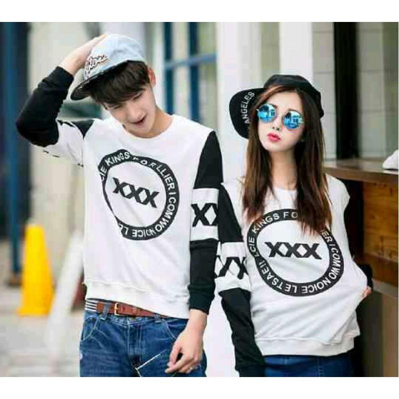 Jual Online Sweater Triple X White Couple Murah Jakarta Bahan Babytery Terbaru