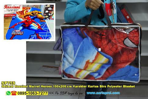 Selimut Rossinni Marvel Heroes 150x200 Cm Karakter Kartun Biru Polyester Blanket