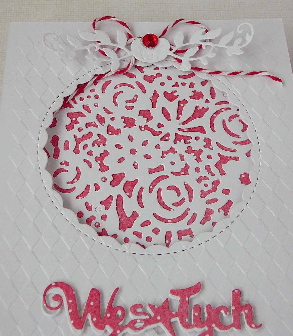 kartka świąteczna bialo czerwona