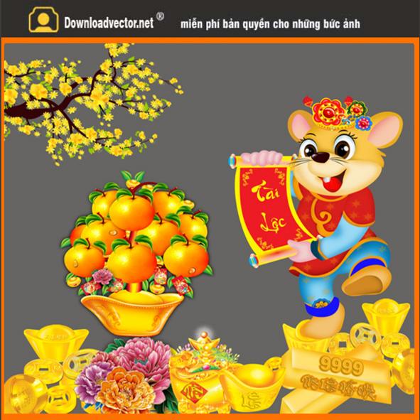 Chuột vàng in lịch tết 2020