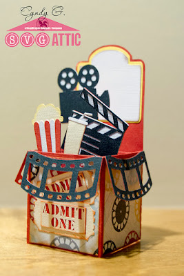3d card with movie theme