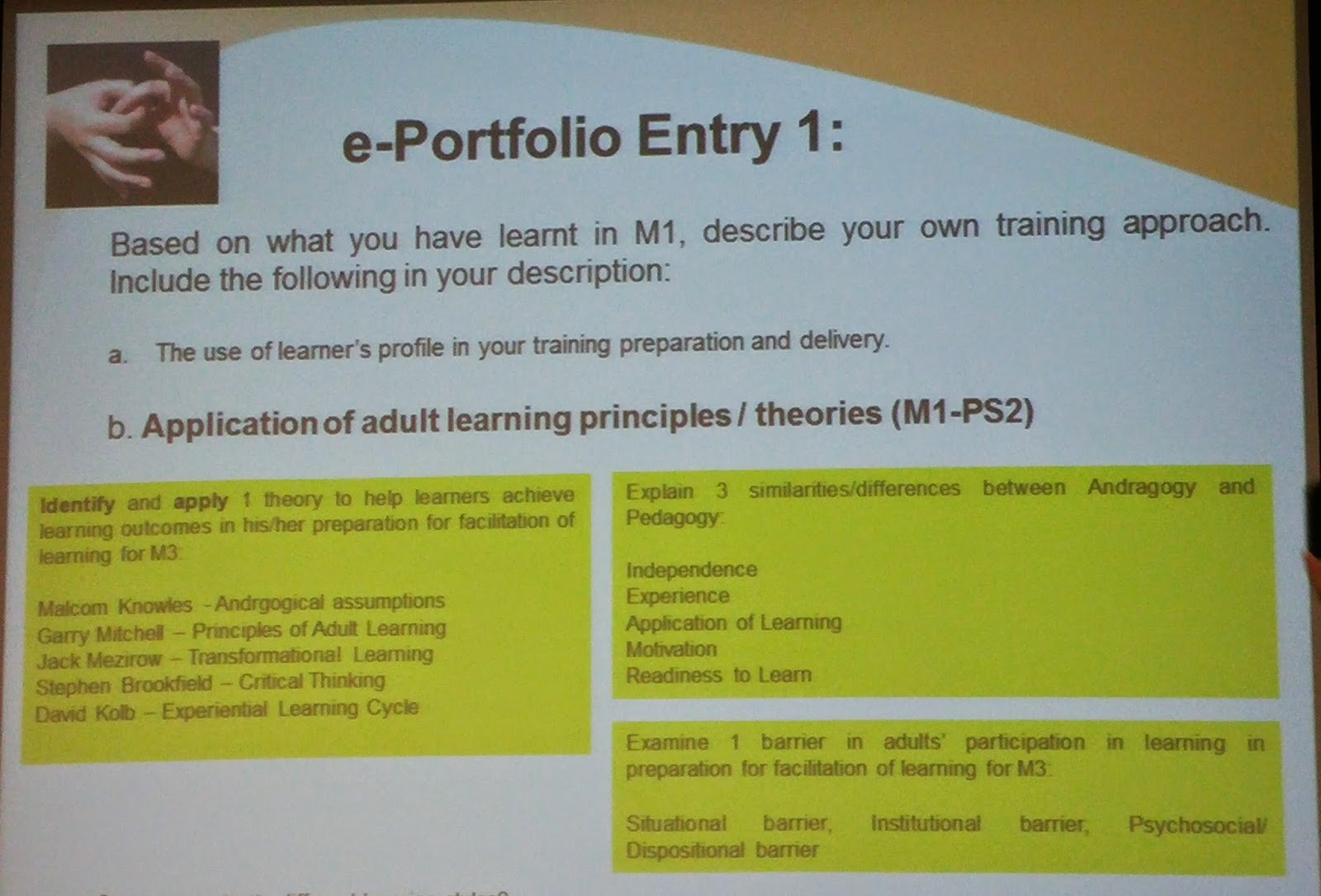 Barrier adult learning