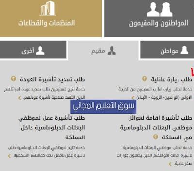 الاستعلام عن طلب زيارة عائلية الشروط والرسوم من وزارة الخارجية السعودية