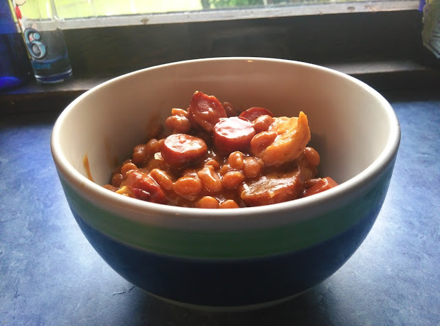 Cowboy Baked Beans from leftovers.