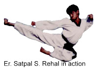 Master Er. Satpal Singh Rehal in action doing Taekwondo Flying Kick Twio yeop Chagi, Garhshankar, Hoshiarpur, Mohali, Chandigarh, Punjab, India, Patiala, Jalandhar, Moga, Ludhiana, Ferozepur, Sangrur, Fazilka, Mansa, Nawanshahr, Ropar, Amritsar, Gurdaspur, Tarn taran, Martial Arts Tkd Training Club, Classes, Academy, Association, Federation