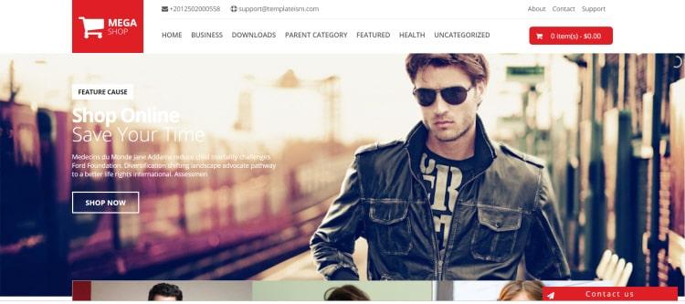 MegaShop шаблон сайта продаж в интернете