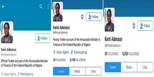 Kemi Adeosun denies her own account after she was caught goofing on Twitter