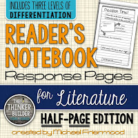 https://www.teacherspayteachers.com/Product/Readers-Notebook-Response-Pages-for-Literature-HALF-PAGE-SET-766284