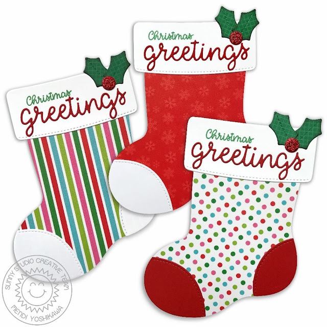 Sunny Studio Stamps: Santa's Stocking Shaped Christmas Card by Mendi Yoshikawa