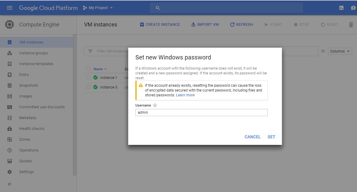 Daha sonra asağı inerek Create diyoruz.  Bizi aşağıdaki sayfaya yönlendiriyor. Gördüğünüz gibi oluşturulmuş. Burada RDP'nin yanındaki kutucuğa tıklayarak Set Windows Password'a tıklıyoruz.   İlk gelen pop-up'da kullanıcı ismini seçiyoruz.
