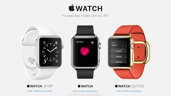 蘋果Apple Watch將從4月10日起開放預購。
