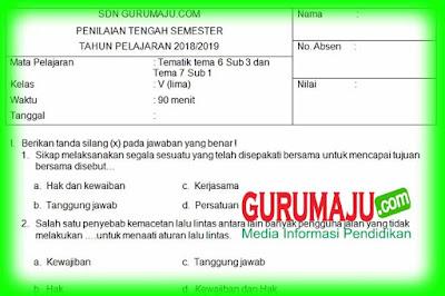 Soal UTS / PTS Kelas 5 Semester 2 Kurikulum 2013