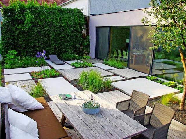 30 contoh desain taman rumah minimalis paling kreatif for Jardines de patios modernos