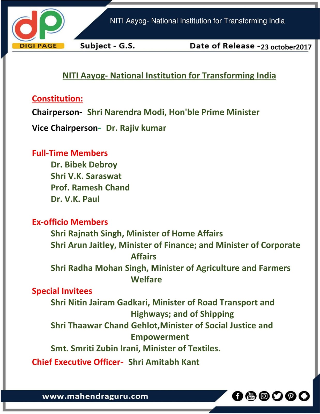 national institution for transforming india niti National institute for transforming india recruitment 2018: – niti aayog has issued a notification for the recruitment of senior advisor/advisor vacancy at 08 posts interested candidates may apply by 45 days other details like age limit, educational qualification, selection process, application fee and how to apply are given below.