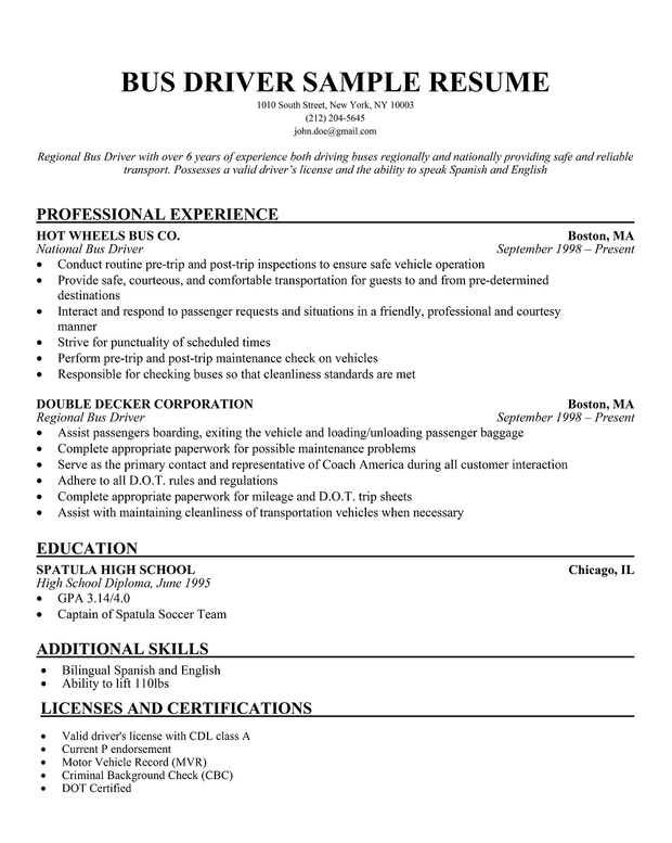 sample bus driver resumes - Sample Resume For Shuttle Bus Driver