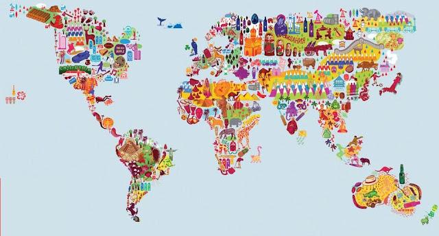 карта мира в виде символов стран