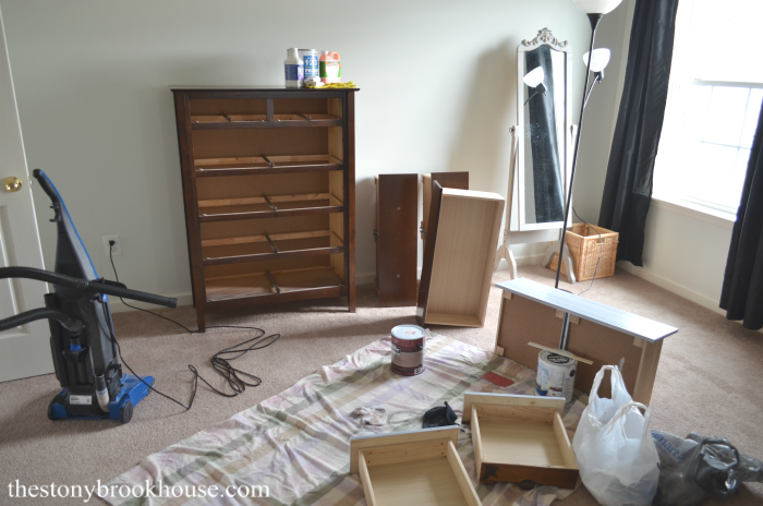 Painting the bedroom dresser
