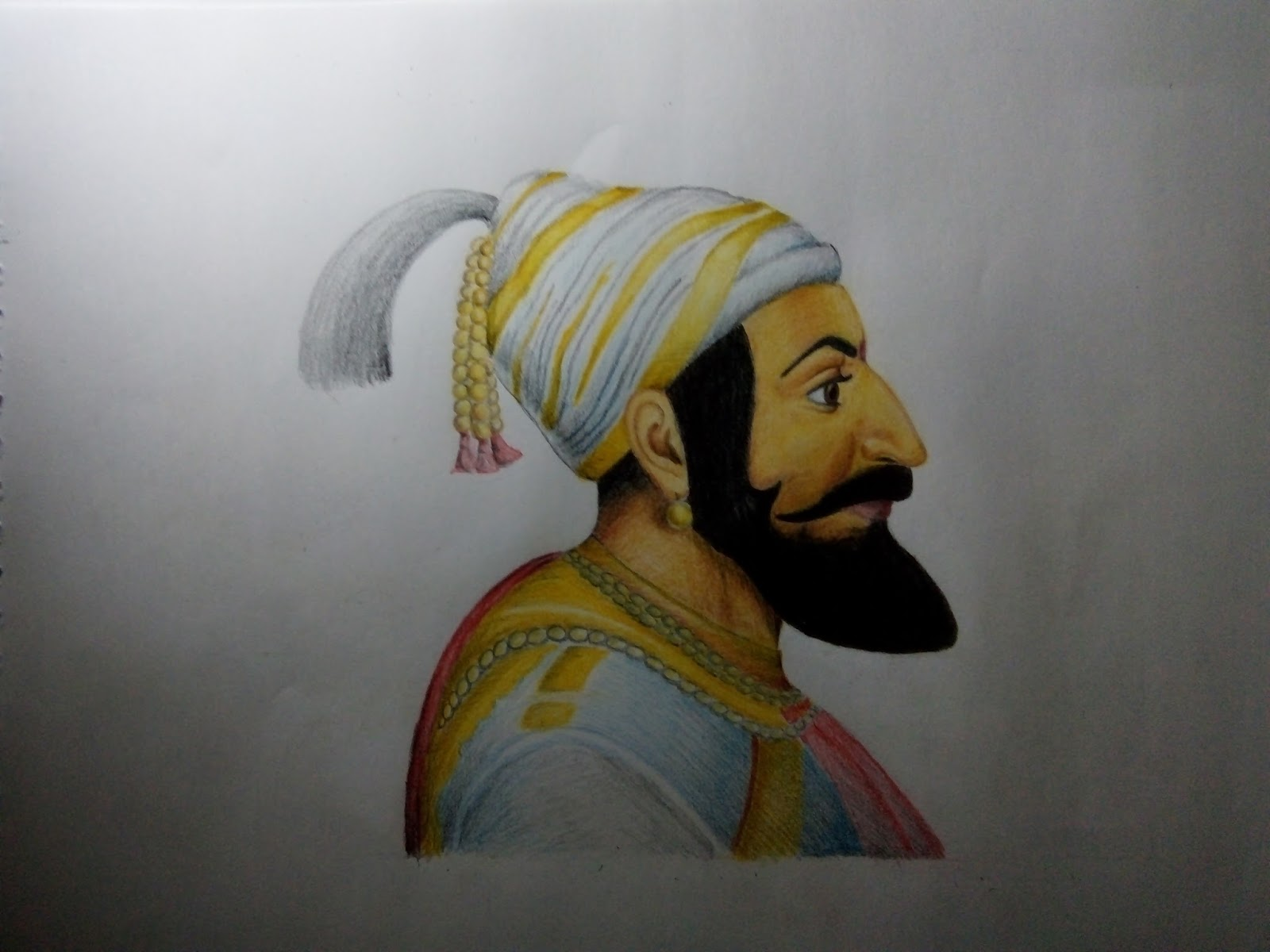 Portrait of chatrapati shivaji maharaj paper size a3 color pencils sketch 5 hours of work