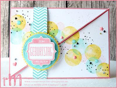 Stampin' Up! rosa Mädchen Kulmbach: diagonale Fun Fold Card mit Vielseitige Grüße und Fürs Etikett