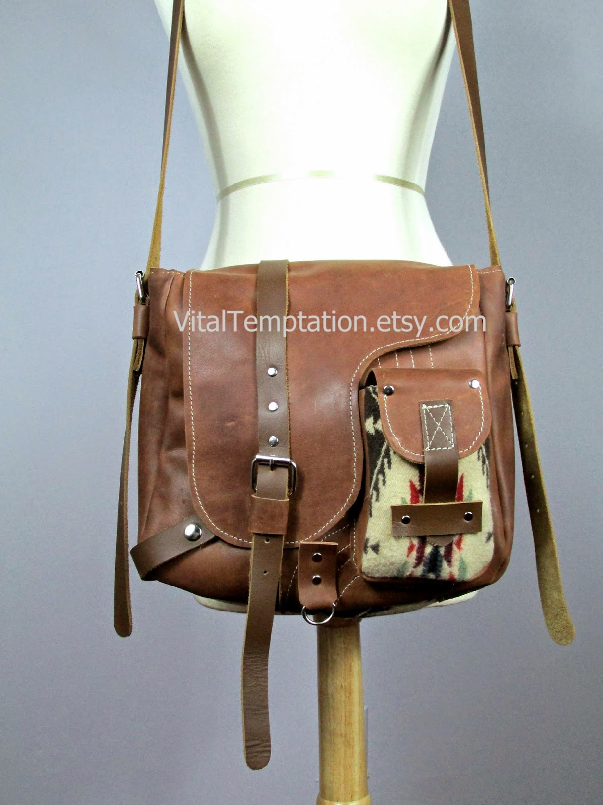 a77600dd47 Laboratory of Fashion  Leather messenger bag with Pendleton wool ...
