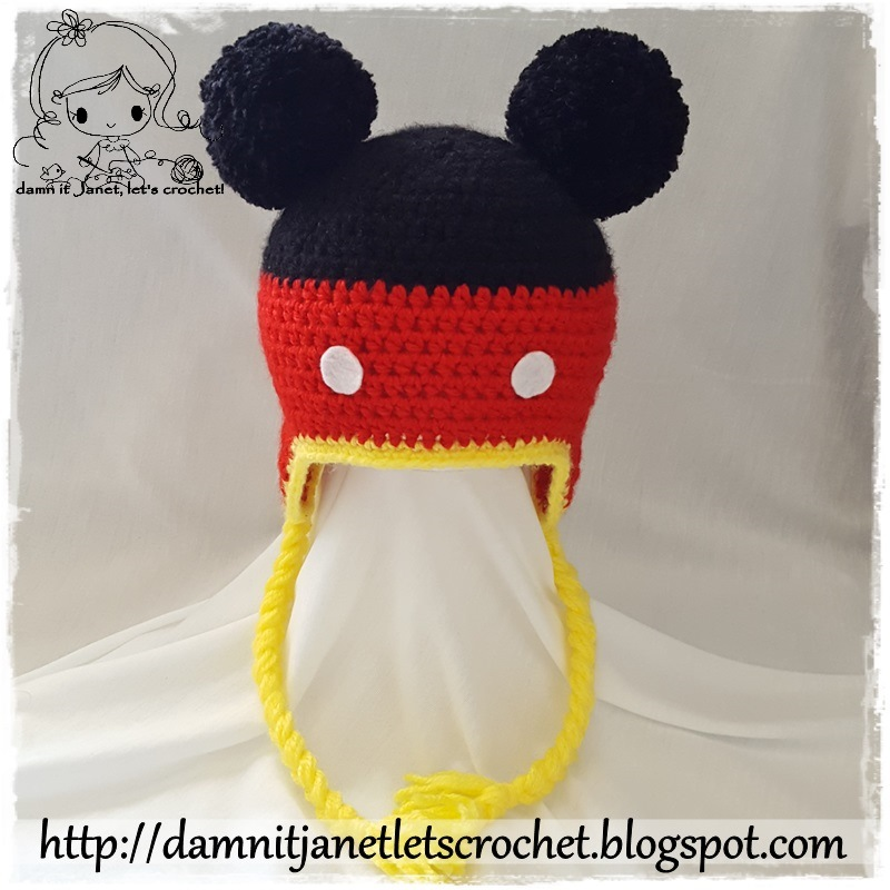 b4a7400a3bd7cc Inspired Mickey Mouse Earflap Beanie (newborn - toddler size). By Janet  Carrillo