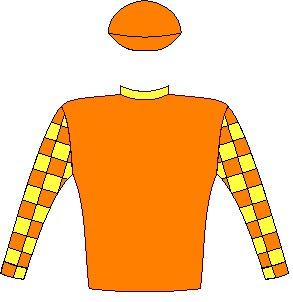 Milton - Silks - Orange, yellow collar, orange and yellow checked sleeves, orange cap