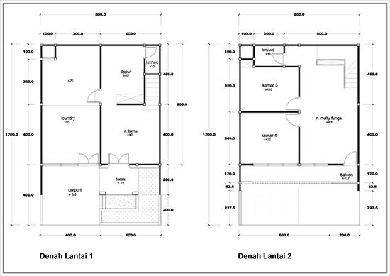 Denah rumah minimalis 4 lantai luas 228m2 4 kamar tidur