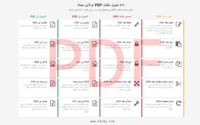 موقع pdf2go يحتوي على العديد من الخصائص التي من خلالها تستطيع تعديل وتحويل ملفات PDF