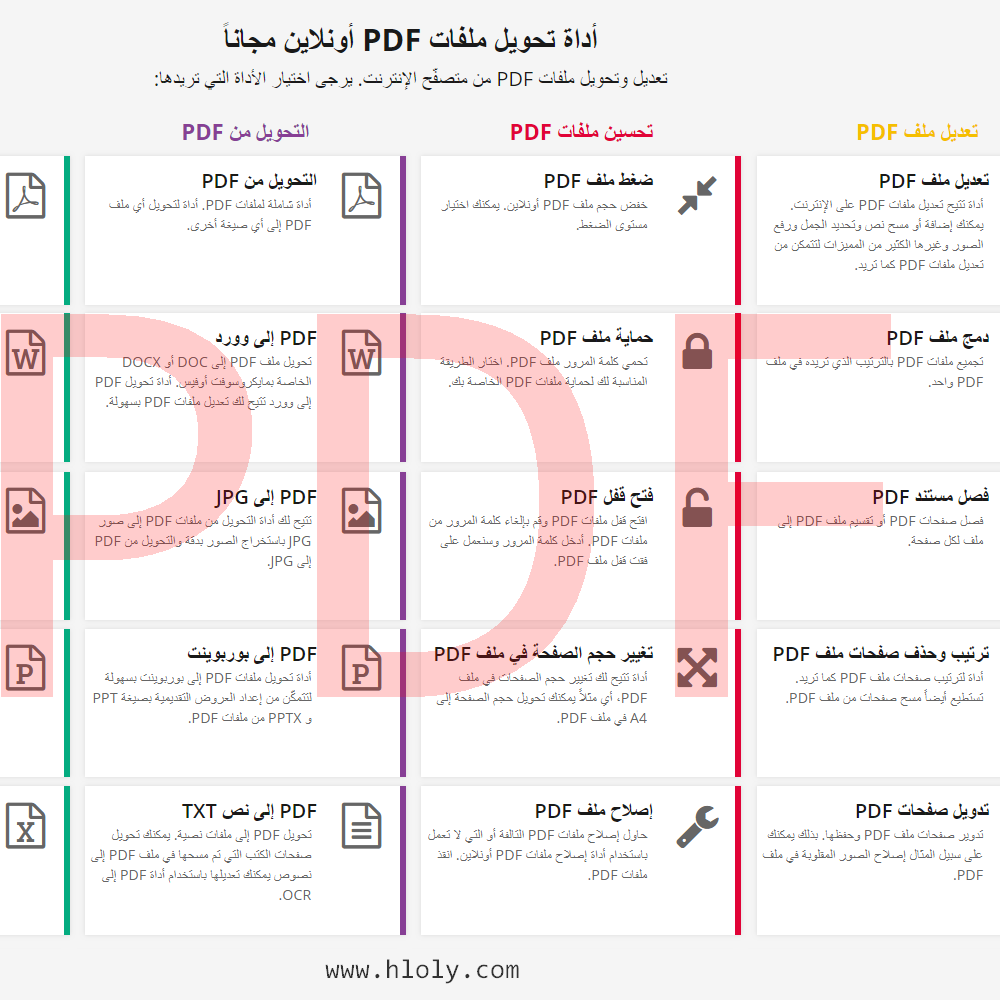 موقع يحتوي على خصائص عديدة تستطيع من خلالها تعديل وتحويل ملفات PDF