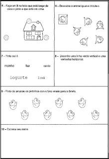Atividade diagnóstica para 1º ano alfabetização