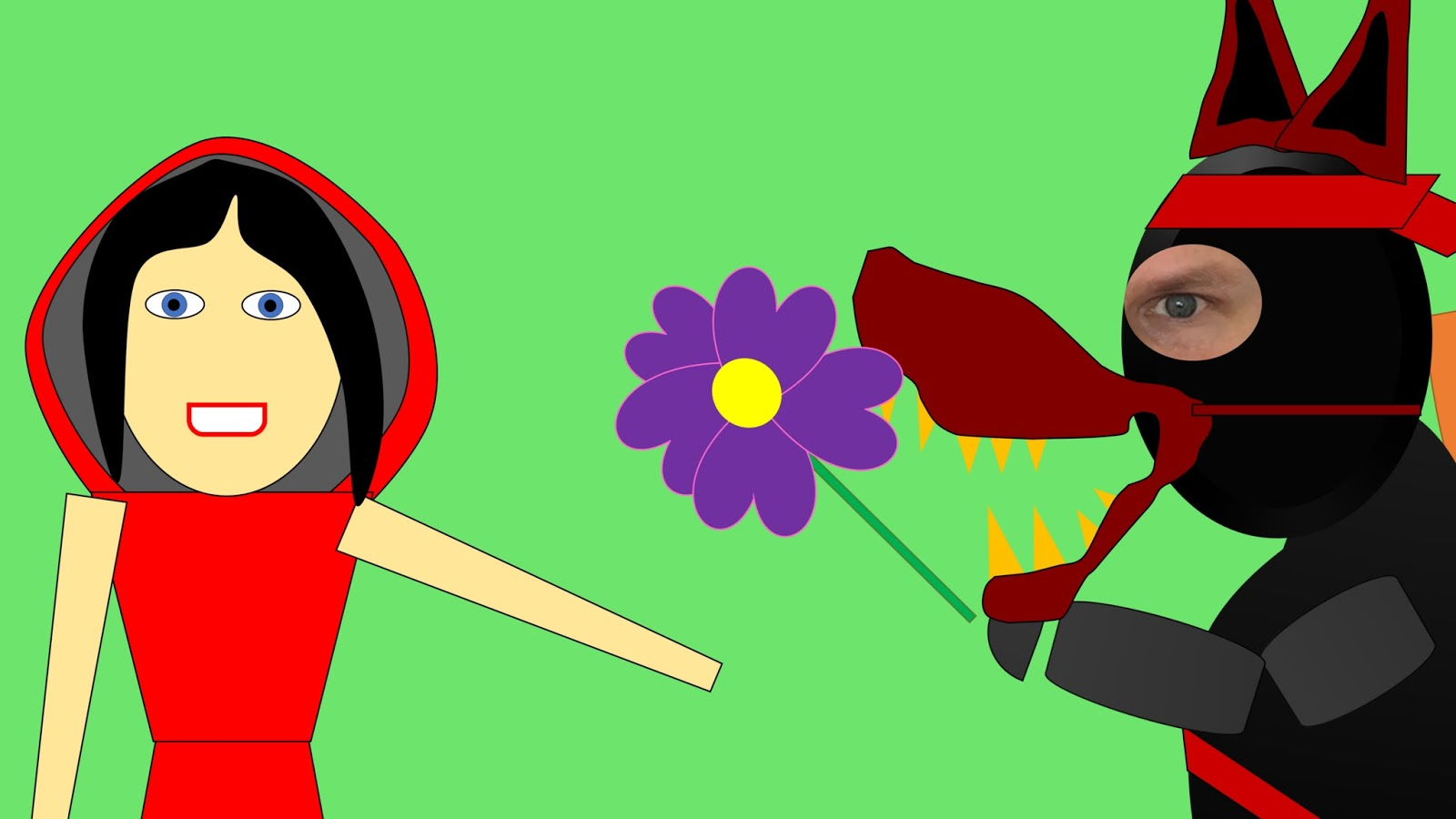 Stinky Ninja is disguised as the big bad wolf and hands Red a flower